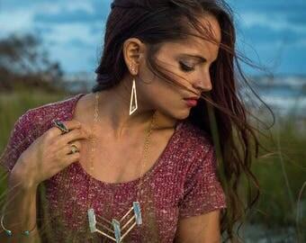 Large Blue Kyanite Necklace // Large Kyanite Gold Necklace // Blue Kyanite Necklace // Large Kyanite Necklace