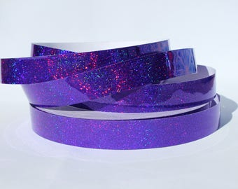 "3/4"" Amethyst Holographic Glitter JAMtape - Hula Hoop Tape - Fish Lure Tape - Decorative Craft Tape - 50, 100, 150ft Rolls"