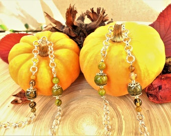 """MOSS agates """"dragon eye"""" and green jade long necklace"""