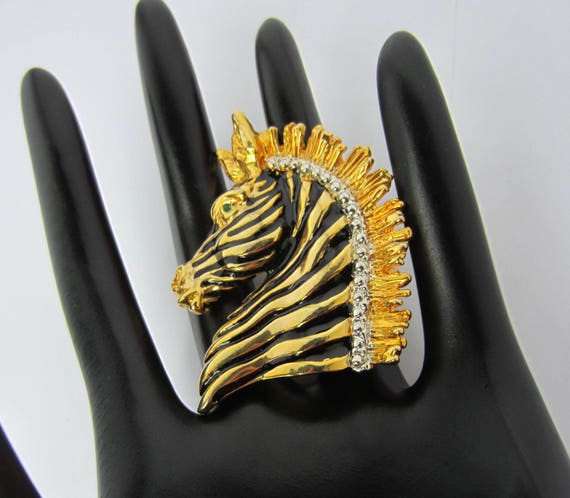 Whimsical Black enamel striped ZEBRA PIN with gold & silver tone metal ~pretty, quality vintage costume jewelry