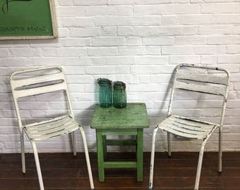 Vintage French Tolix Metal Bistro Cafe Chairs