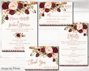 Burgundy marsala wedding invitation printable w rose gold font marsala wedding invitation suite floral boho bohemian gold wedding invite set