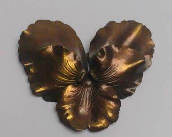 Vintage pansy brooch bronze flower