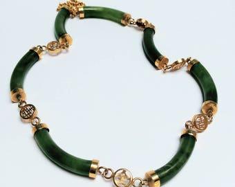 Vintage jade bar gilded necklace