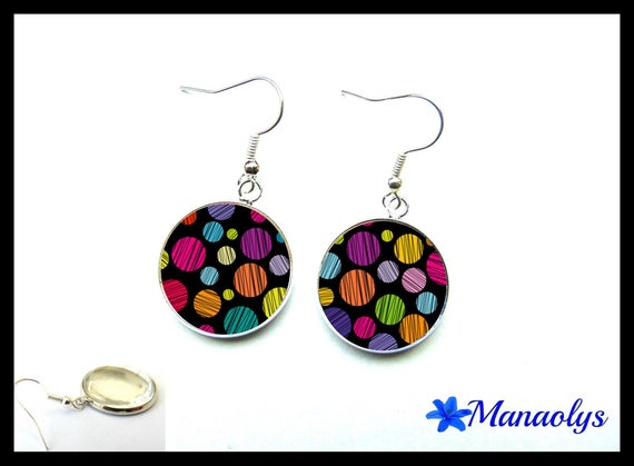 Multicolor dots on black cabochons earrings glass 2761