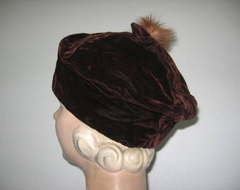 1930's Brown Velveteen Cuffed Tipster Hat with Feather Trim!
