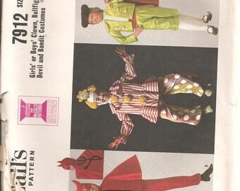 Vintage McCall's 1960s Costume Pattern: Children's Clown, Bullfighter, Devil, Bandit Costumes. Size L (10-12). UNCUT