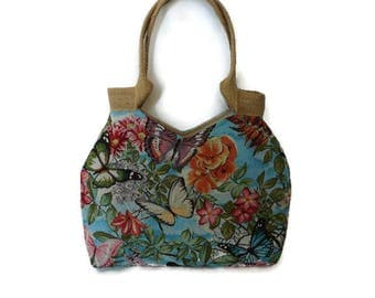 Gobelin shoulder bag, butterfly purse, colorful handbag, flowered gobelin bag, unique shoulder bag, butterfly print bag, tapestry bag