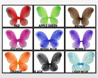 """1 - ( 12"""" x 10"""" ) Butterfly Fairy Costume WINGS CHOOSE Color  12"""" by 10"""""""