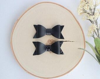 Black Bow Headband/ Black Baby Bow/ Black Leather Bow/ Black Baby Headband/ Leather Bow Headband/ Black Hair Bow/ Black Baby Dress
