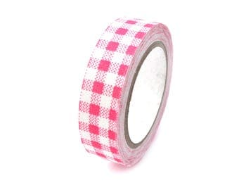 Washi tape in pink and white gingham fabric