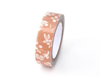 Washi tape in light brown floral fabric