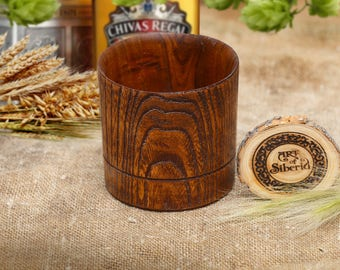 Exlusive Handmade Wooden Whisky Glass Organic Gift of NATURAL ELM WOOD #W3