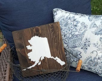 SPECIAL ORDER 12x12 Wood State Wall Art - Hand Painted Silhouette - Choose Your State - Alaska