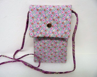 Large case smartphone shoulder bag fabric flowers