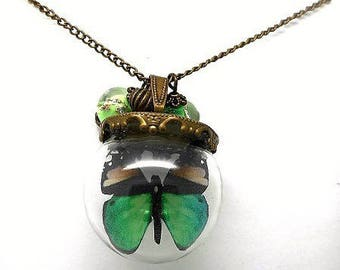 Brown and Green Butterfly glass globe necklace, beads spun Green