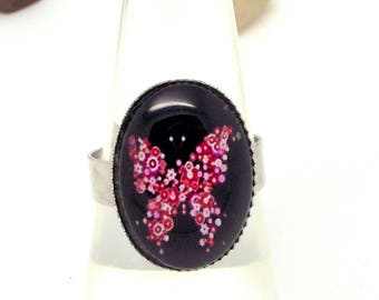Silver tone red on black floral butterfly Ring