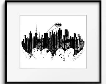 Gotham City Skyline Watercolor Art Print (S058) Gotham City Cityscape, Gotham City Painting, Gotham City Watercolor, Batman Art Print