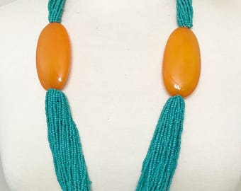 Gorgeous Seeds Multi Strand Turquoise & Butterscotch Resin Long Necklace