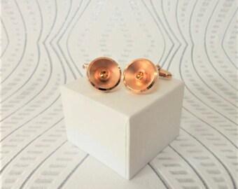 Citrine Crystal Cuff Links Matte Gold Tone Circular Men's Accessories Gift Ideas