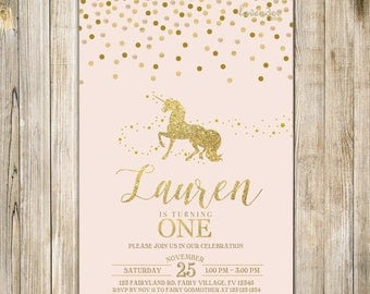 MAGICAL UNICORN BIRTHDAY Invite, Blush Pink Gold Glitters Unicorn Party Invitation, 1st First Birthday, Mythical Fairytale Girl One Birthday