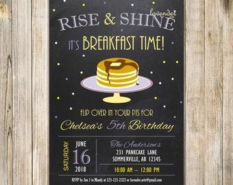 Purple Yellow RISE and SHINE Breakfast Birthday Invitation, CHALKBOARD Pancakes & PJs Party Invite, Pancake 1st Birthday, Pyjamas Birthday