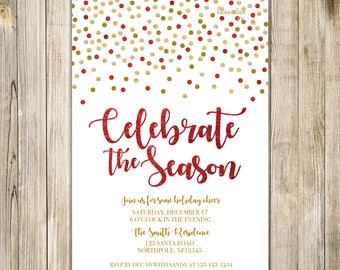 CELEBRATE the SEASON Invitations, Red Gold Glitters Christmas Party Invite, Holly & Jolly Party Invites, Corporate Christmas Holiday Party