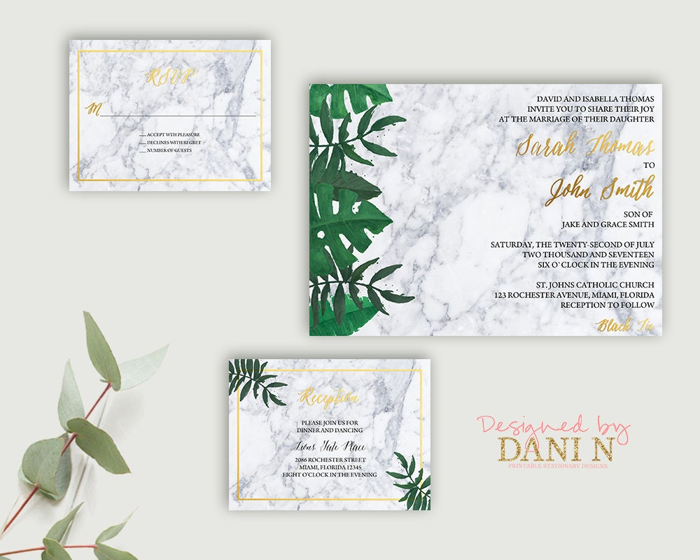 Marble wedding invitation, Wedding Suite, Green Leaves and Gold ...