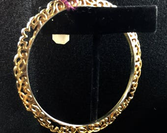 Vintage Gold Detailed Bangle Bracelet #044