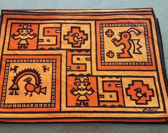 Vintage Set of 8 Placemats By Silvia of Peru Mid Century Fabric Designer Vibrant Peruvian Prints