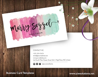 Salon business card etsy watercolor business cardswatercolor splash business cardswatercolored business cards templates painter name reheart Image collections