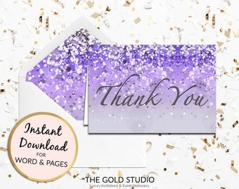 Purple Thank you card Instant Download   Lilac thank you note card   Sweet 16, Bridal Shower, Birthday thanks   Printable thank you note