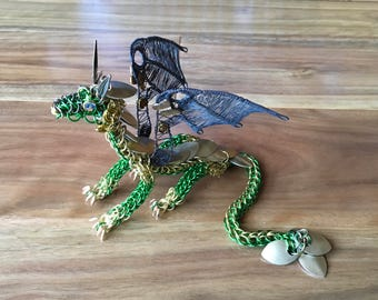 CHAINMAILLE DRAGON SCULPTURE Green Gold Handmade