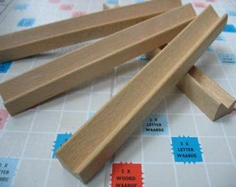 4 wooden scrabble tile racks to display 9 Scrabble letters