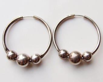 15% SALE - Vintage 925 Sterling Silver Bead Ball Large Hoop Earrings