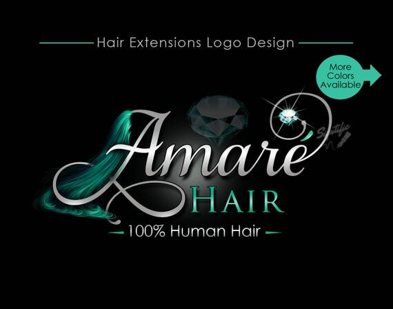 Hair Extensions Logo, Virgin Hair Logo Design, Hair Collection Logo, silver, Teal Diamond Bling, Hair Strands Logo, Hair Business Logo