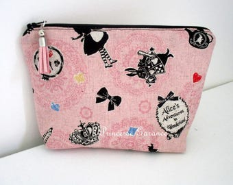 "Christmas, birthday * make up pouch, travel, cotton, pattern ""Alice"" - in stock"