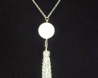 "Tassel necklace with large white pearl bead you select length 28""to 40"" long chain necklace ,stainless steel chain tassel necklace, unique"