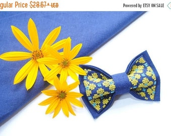 15% off gift gifts men EMBROIDERED BLUE bow tie with bright yellow flowers women's gift boyfriend boys ties wedding necktie christmas gift g