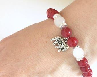 Silver Elephant Red Mountain Jade Snow Quartz Bracelet, Elephant Bracelet,Charm Bracelet, Spiritual Jewelry, Birthday Gift Idea