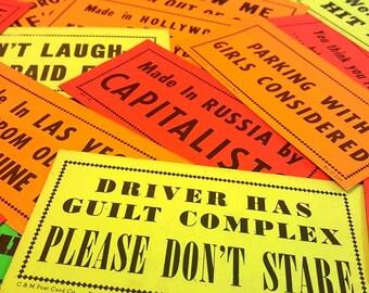 Vintage Bumper Sticker Lot - Set of 3 - Mystery Grab Bag - Witty Sayings - Sarcastic Remarks - Snark - Neon Sticker - Ephemera