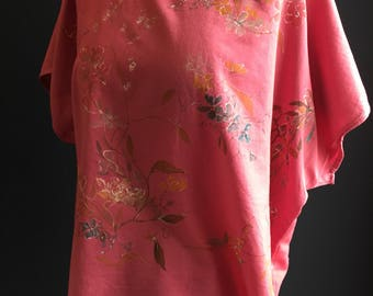Womens top 100% natural organic cotton dyed beetroot colour hand painted flowers textile art size large Victorian vintage painting 1920s