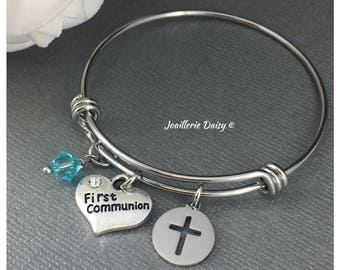 Gift for goddaughter etsy gift for goddaughter first communion gift bracelet bangle bracelet baptism gift idea gift from godmother jewelry negle Choice Image