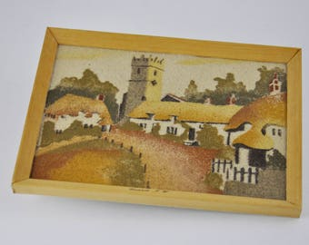 gallerymichel Vintage Isle of Wight Godshill Hand Made Coloured Sand Painting