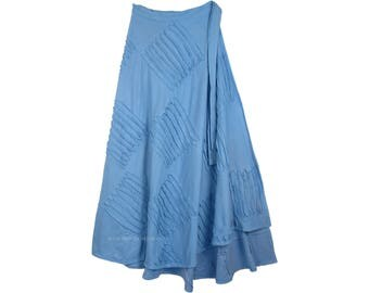 Azure Blue Razor Cut Long Wrap Skirt