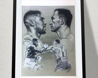 Joshua vs Klitschko black and white sketch