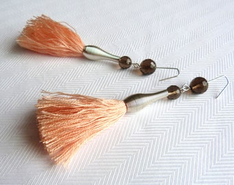 Salmon and Brown earrings, brass, natural beads and cotton tassel