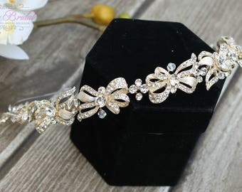 FAST SHIPPING!! Gorgeous Bridal Headband, Gold Swarovski  Headband, Crystal Headband, Swarovski Headband, Crystal Gold Headband