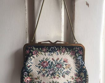 Vintage Floral Tapestry Purse Clutch Western Germany