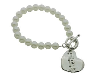 Pi Beta Phi Pearl Sorority Bracelet Jewelry Toggle Bracelet with Heart